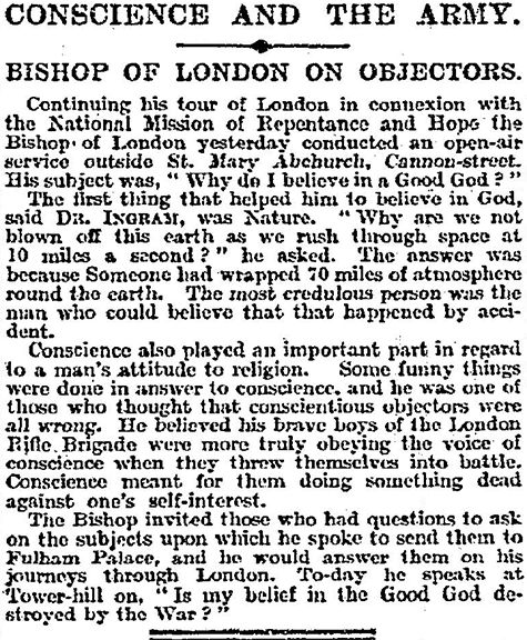 "WW1, 12 Sept 1916: ""Conscientious objectors are all wrong"" according to London…"