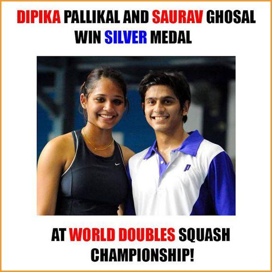 #DipikaPallikal and #SauravGhosal wins silver medal in #Squash Champianship.