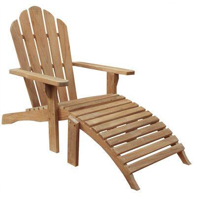 ChicTeak Teak Adirondack Chair and Footstool Set