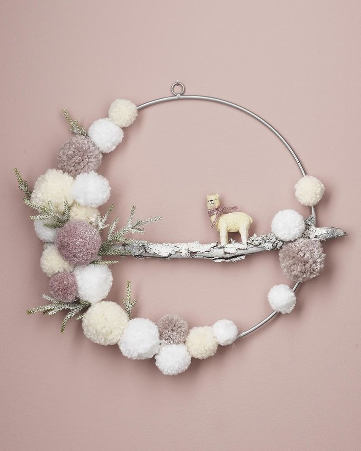 "Panduro on Instagram: ""Make a soft woolly WREATH! 🐩 We made yarn pompoms and glued them on to a metal ring. A beautiful branch and a little fluffy animal ties the…"""