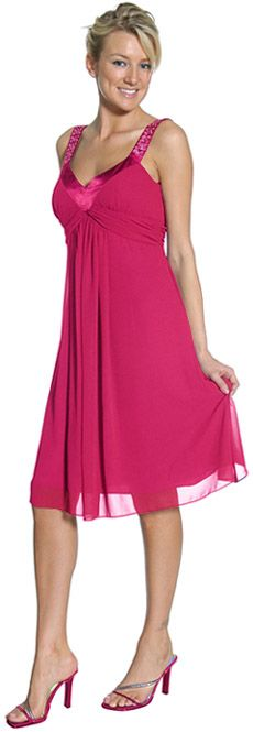 Short Knee Length Fuchsia Bridesmaid Gown Tank Strap With Silver Stones Dress $76.99