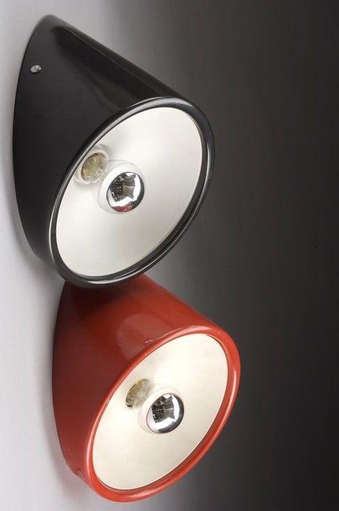 Cini Boeri; #235 Enameled Steel Wall Lights for Arteluce, c1971.