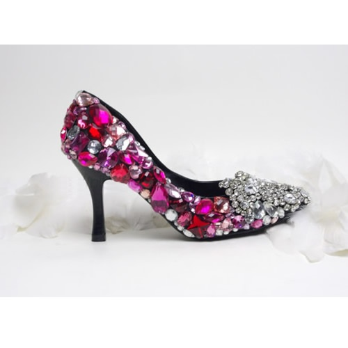 Couture Silver Pink Crystal Wedding Bridal Evening High Heels Pumps Shoes  SKU-1090035