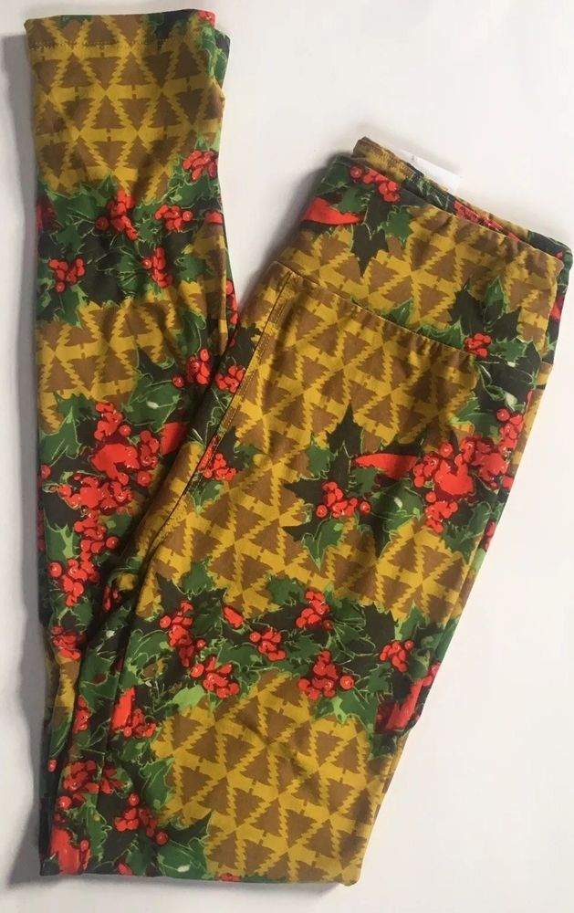 823cd9a50735f1 LuLaRoe CHRISTMAS Leggings One Size NWT Holly Berries Trees Yellow Green Red  | eBay