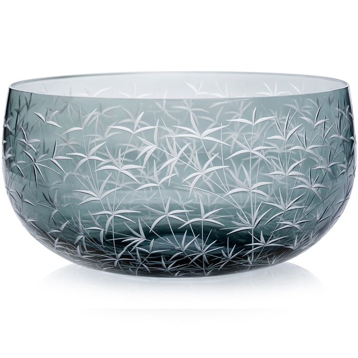 Handmade glass blown Fruit Bowl, Bambou-Grey 5090, height: 110 mm | widest diameter: 220 mm | Bohemia Crystal | Crystal Glass | Luxurious Glass | Hand Engraved | Original Gift for Everyone | clarescoglass.com