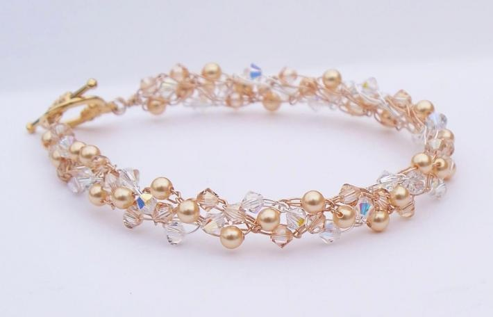 Gold Pearl and Crystal Wire Crochet Bracelet