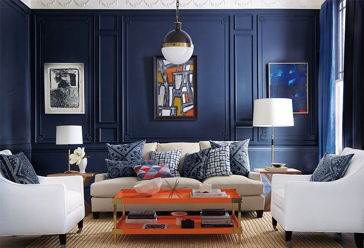 I LOVE this room!  The wall color, the orange coffee table! So fab! Secrets from Decorating Insiders: Serena & Lily