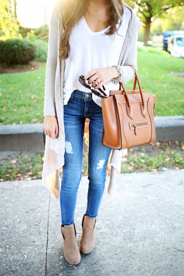 Have the skinny jeans, booties, white tee and super long cardigan. Need the chunky chain link bracelet