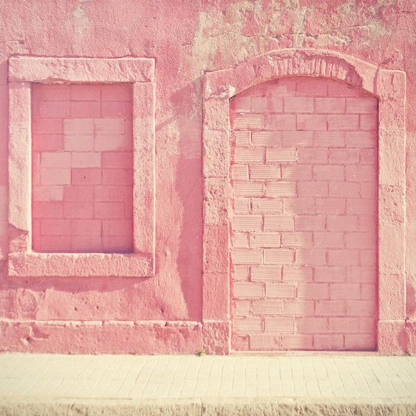 pastel pink feature wall