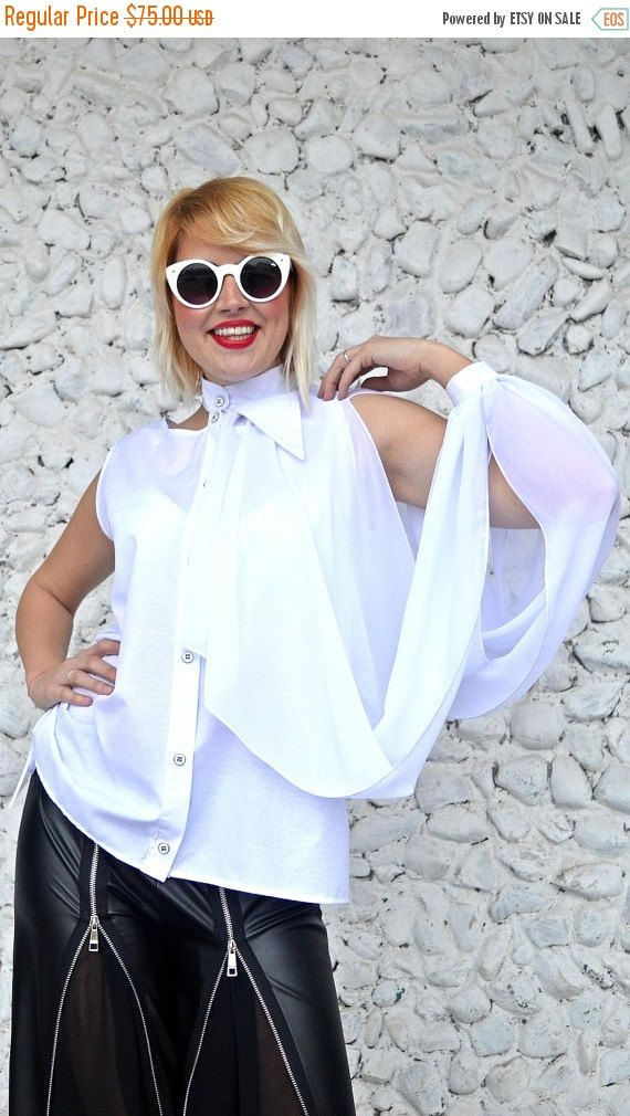 ON SALE 20% OFF Extravagant White Top / Asymmetrical White Cotton Top with Chiffon Extravagant Sleeve / Funky White Blouse Tt113 / Urban Mus