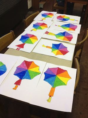 Color Wheel Umbrellas - for a raindrop effect, add lots of glue dots and then hang dry to make long, clear drips