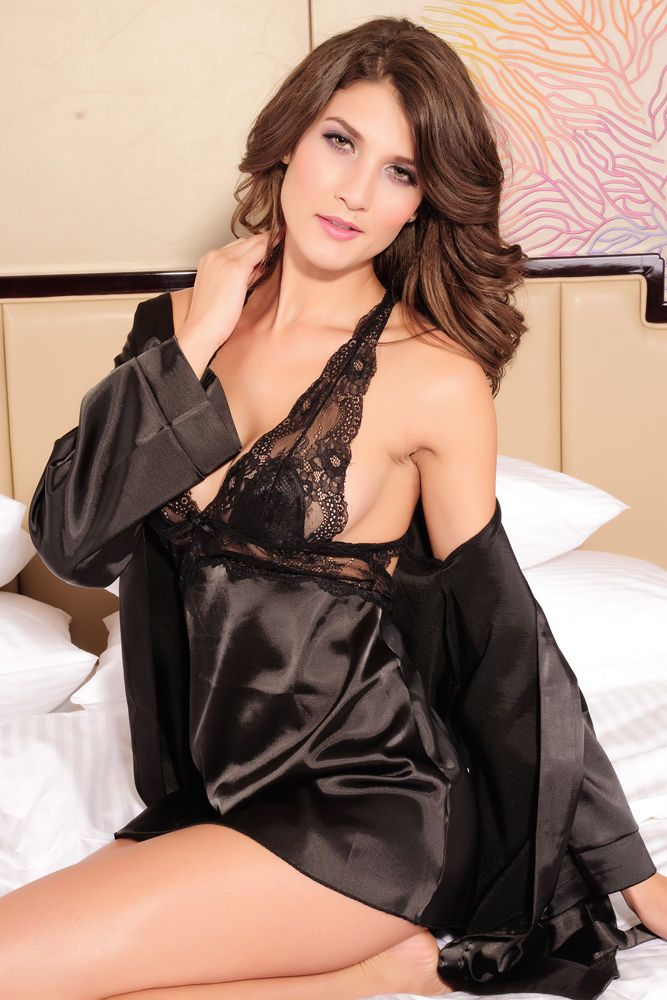 Black Satin Lace Babydoll with Long Sleeve Satin Luxury Robe 2 Piece Set 2637 #GabriellesLingerie #LingerieSet