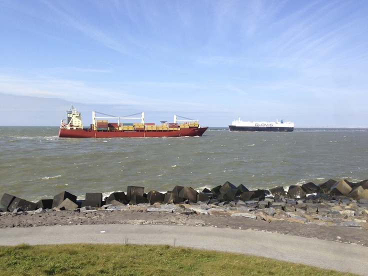 Cargo Boats sailing by the coast of the 2nd Maasvlakte
