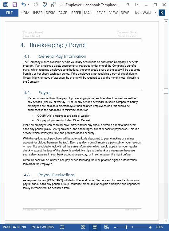 Employee Handbook Template Word Gildenlow Employee Handbook Template Employee Handbook Word Template