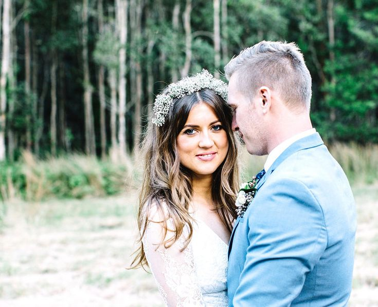 Real Bride Lani and Mark's Byron Bay Wedding! Captured by Amelia Fullerton... flowers by The French Petal. Lani wears a custom made Prea James Bridal lace #weddingdress  #byronwedding #bohobride #bohowedding #lace #longsleeve