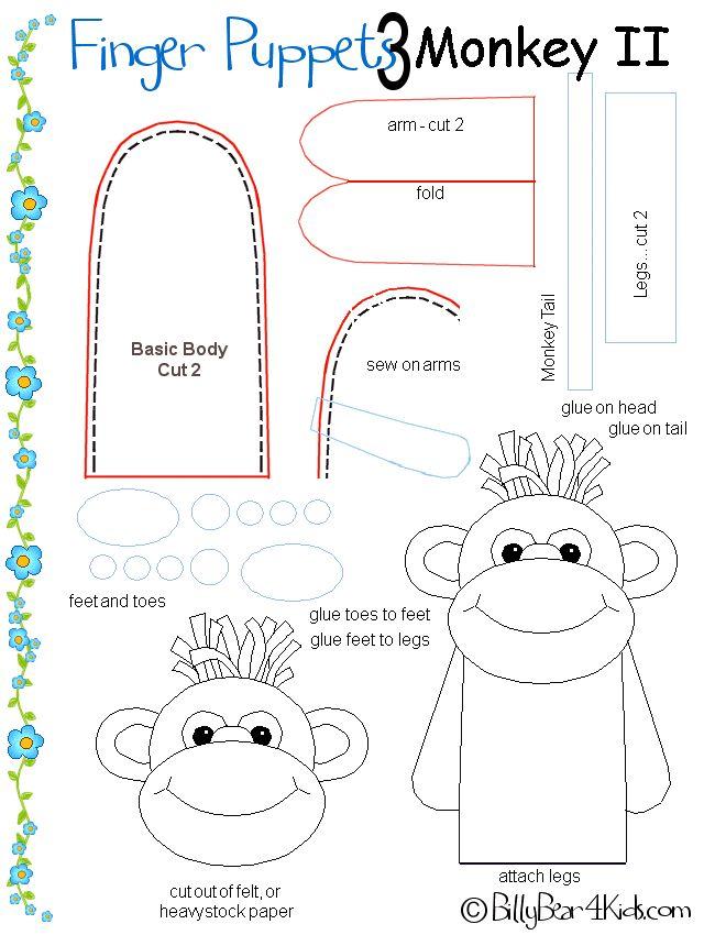 Free Printable Purse Patterns   Finger Puppet Patterns - Monkey - BillyBear4Kids.com
