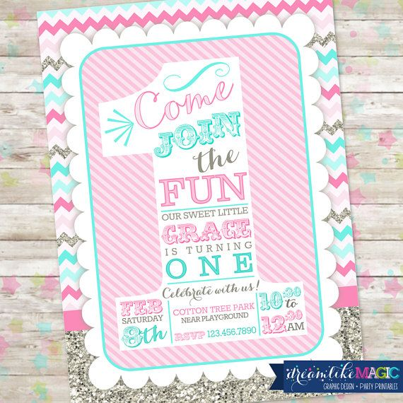 1st Birthday Invitation the big ONE number one by DreamlikeMagic