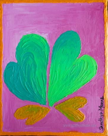 """""""We"""" is an artwork with  a set of four Heart representing a beautiful family... The art is a part of the """"Hearts"""" series, done on Canvas and has textures hearts.   """"We"""" has two shaded green  hearts and two shaded yellow hearts on a light pink background."""