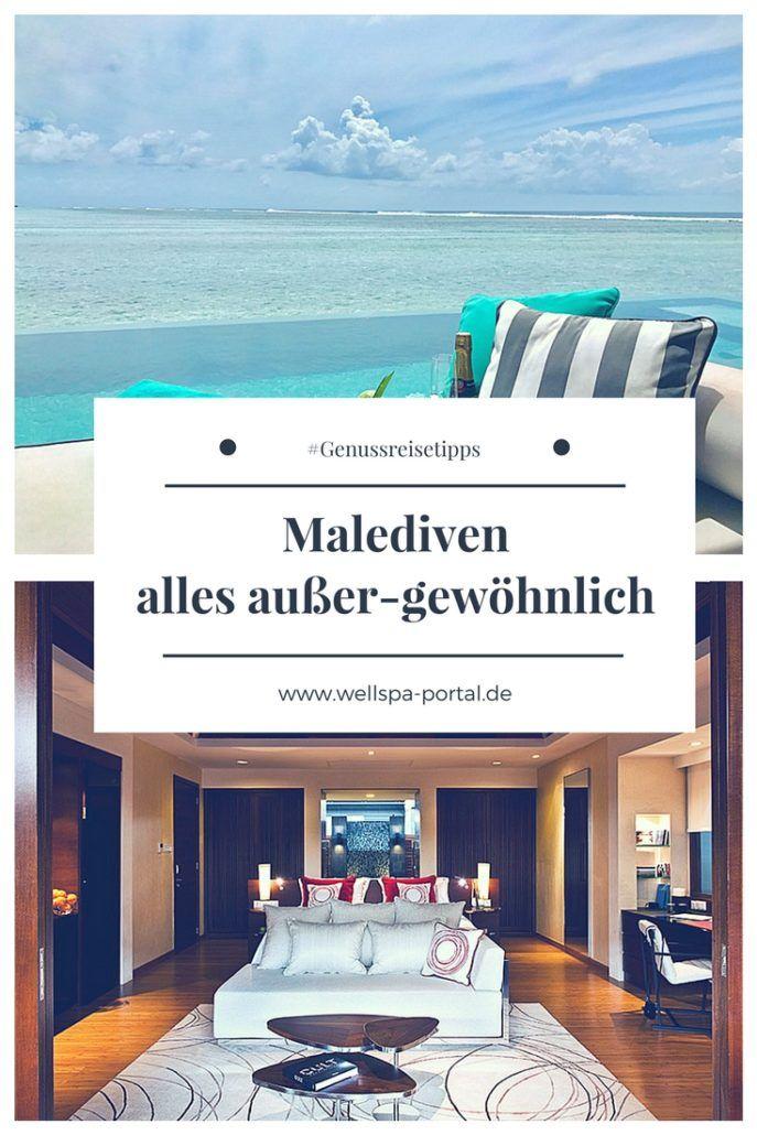 Malediven Urlaub Wasserbungalow all inclusive. Aber wann ist die beste Reisezeit, wie komme ich auf die Inseln der Malediven und wo finde ich neben Strand, Wasser und Wellness auch entspannte Augenblicke bei einer 5 Sterne Luxus Reise. #Malediven #Reisezeit #Wasserbungalow #AllInklusiv #Wellness #Genussreisetipps #Travel