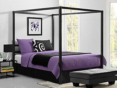 DHP Modern Metal Framed Industrial Canopy Bed Frame, Queen, Gray