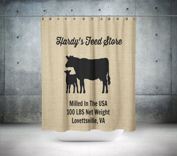 Personalized Cow Shower Curtain Farmhouse Chic by FolkandFunky