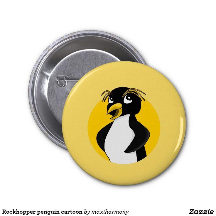 Rockhopper penguin cartoon 2 inch round button