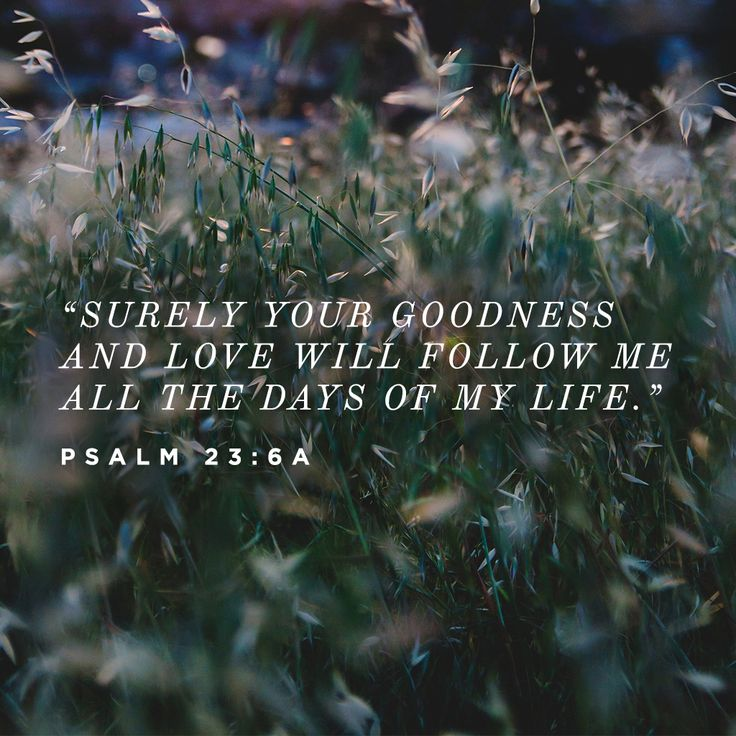 """Surely your goodness and love will follow me all the days of my life."" -Psalm 23:6a #LiveinGoodness"