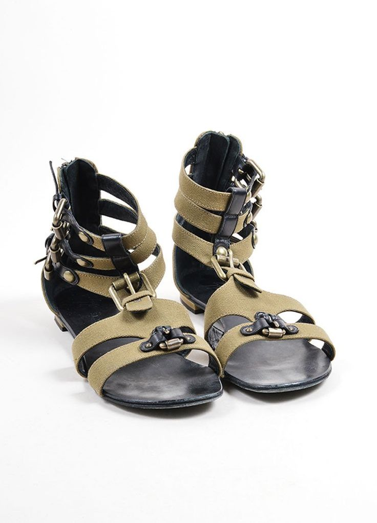 Green Canvas and Black Leather Buckle Sandals