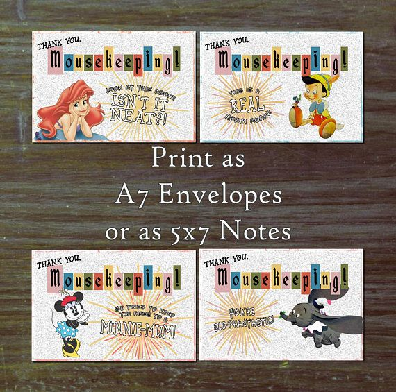 PLEASE READ THIS ENTIRE LISTING BEFORE COMMITTING TO PURCHASE. THIS IS AN INSTANT DOWNLOAD WITH NO CUSTOM EDITING. Print these cute notes for Mousekeeping right onto your own A7 (5x7) envelopes or simply print on 5x7 notecards. All puns are original (as far as I know) and are