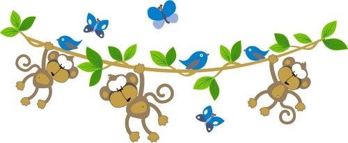 Monkeys on a vine