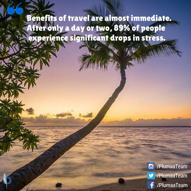 Amazing fact about #travel and #stress! Source: http://www.buzzfeed.com/laraparker/interesting-facts-that-will-make-you-want-to-travel#.xgXKE3Lzjo
