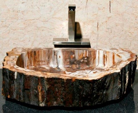 Large Brown and Ivory Petrified Wood Sink | Vessel Bath Sink | ArtisanCraftedHome.com