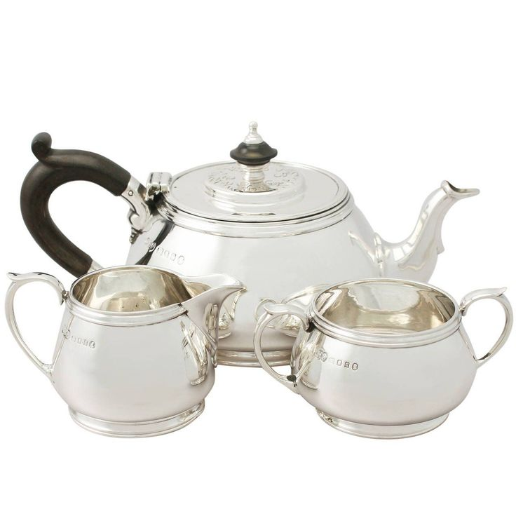 Sterling Silver Three-Piece Bachelor Tea Service, Antique George V | From a unique collection of antique and modern tea sets at https://www.1stdibs.com/furniture/dining-entertaining/tea-sets/ #SterlingSilverTeaService