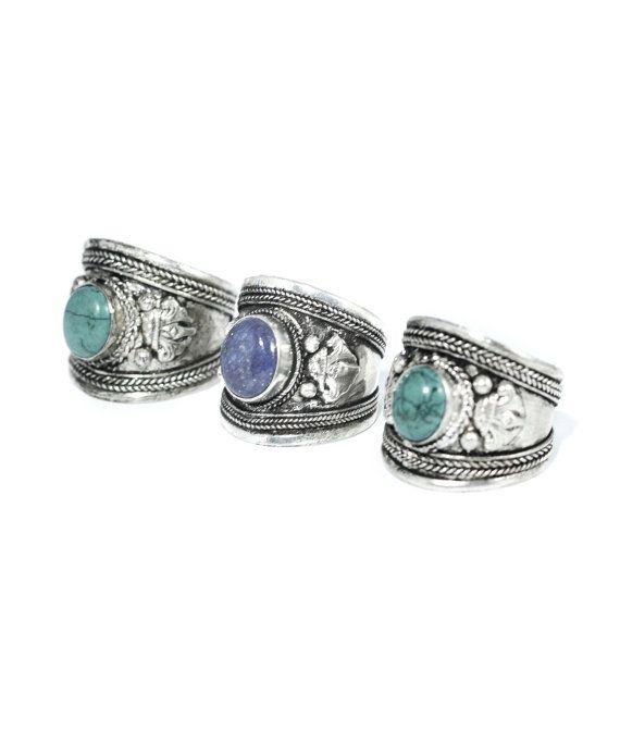 Tibetaanse Boheemse Turquoise of blauwe Trinket Ring - Boho Vintage zilveren manchet Amulet Armour juwelen - Festival stijl - duim ringen - verstelbaar