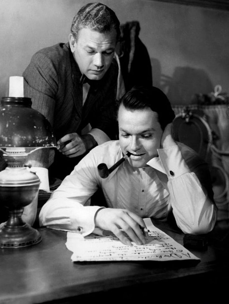 "Joseph Cotten (May 15, 1905 - February 6, 1994) as Jedediah Leland and Orson Welles (May 6, 1915 - October 10, 1985) as Kane in ""Citizen Kane"", 1941 #still"