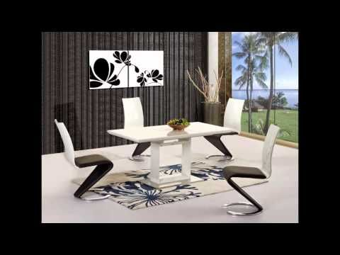 White high gloss black glass dining tables and 4 chairs set
