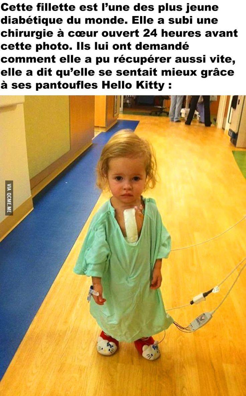 Cette fillette est l'une des plus jeune diabétique du monde. Elle a subi une chirurgie à cœur ouvert 24 heures avant cette photo...