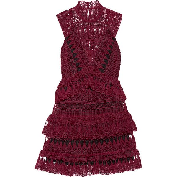 Self-Portrait Tiered guipure lace mini dress (£225) ❤ liked on Polyvore featuring dresses, burgundy, short lace dress, sheer cocktail dress, purple lace dress, see through dress and purple dress