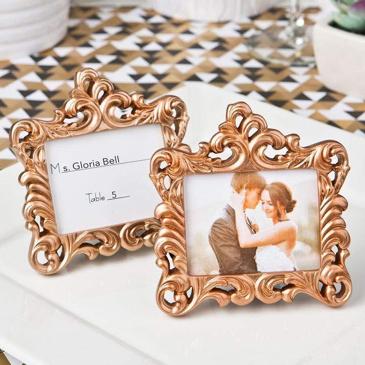 silver heart wedding place card holders%0A ROSE GOLD BAROQUE STYLE FRAME FAVOR
