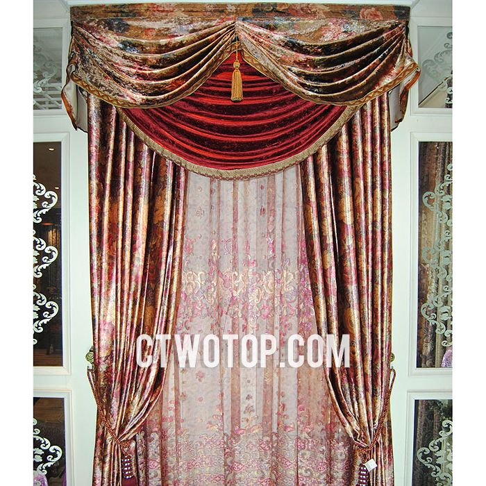 Retro Victorian Designer Living Room Brown And Red Floral Curtains No Include Valance