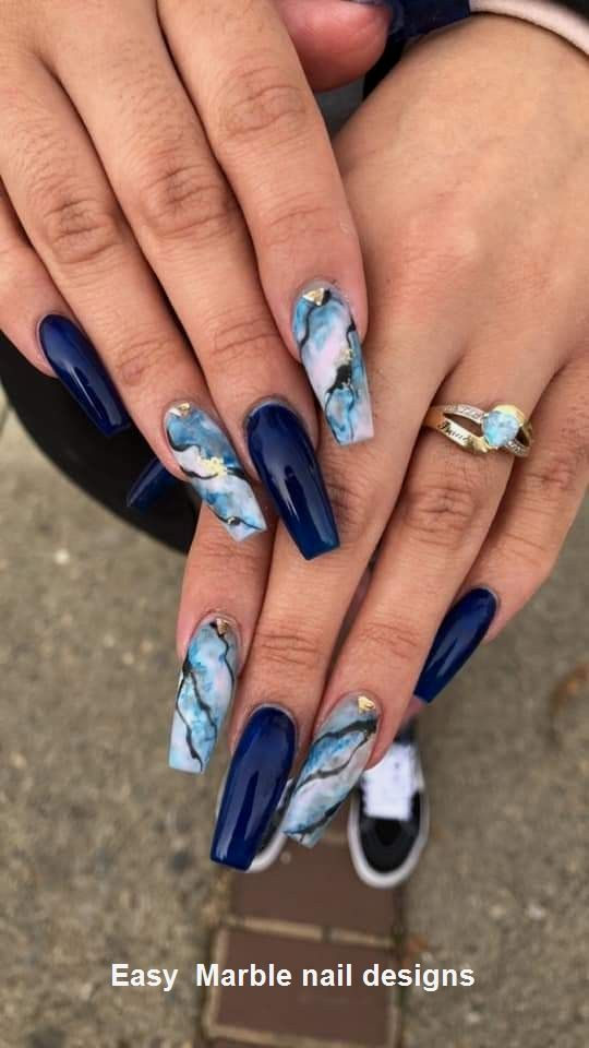 25 Marble Nail Design with Water & Nail Polish 2