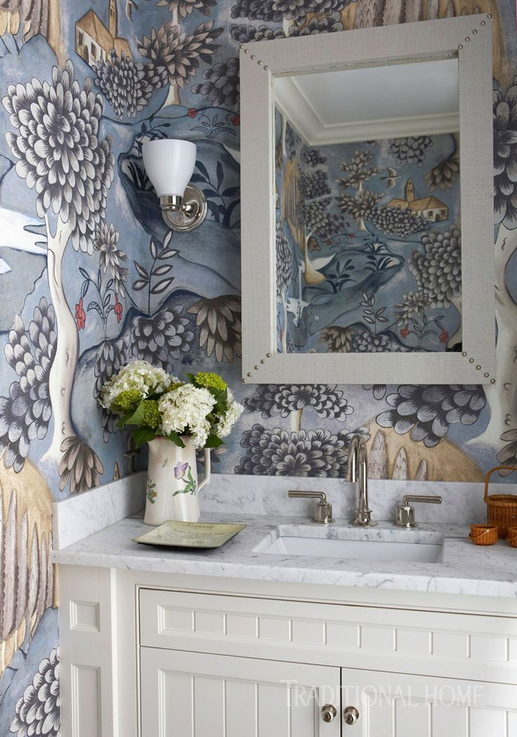 This is the   first time I've seen this mural  in blue! It looks so different in a small space. Check out the Hirshfield's Design Studio board for a peek at the green colorway. Nancy Serafini Interior Design