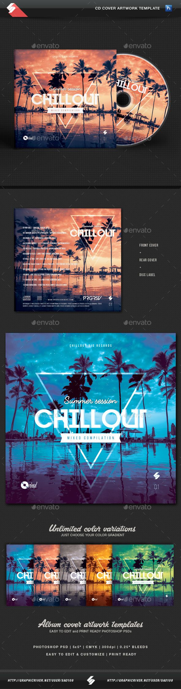 Cd box template download free vector art stock graphics amp images - Summer Session Chillout Cd Cover Artwork Template