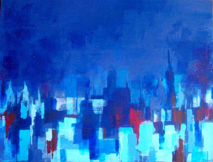 """"""" Città sull'acqua, notturno """". 2010. Acrilico su masonite, cm 26 x 34."""