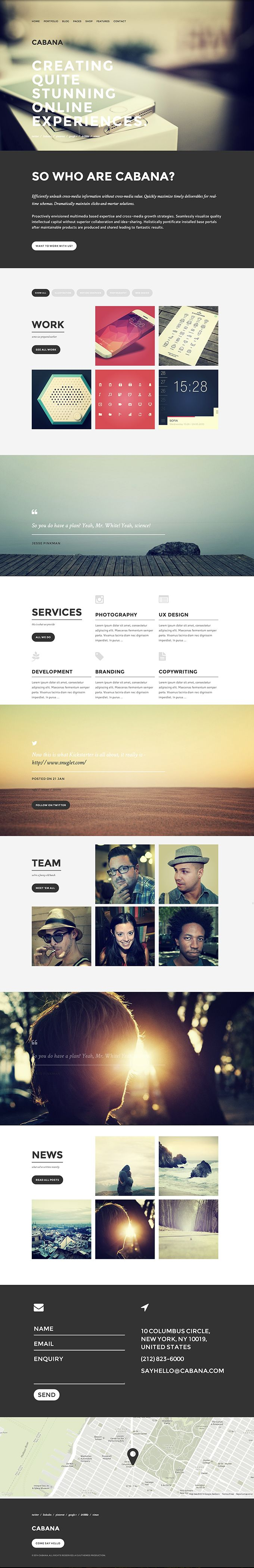 Cabana - a creative portfolio theme for WordPress
