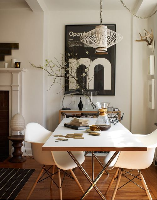 white dining table eames