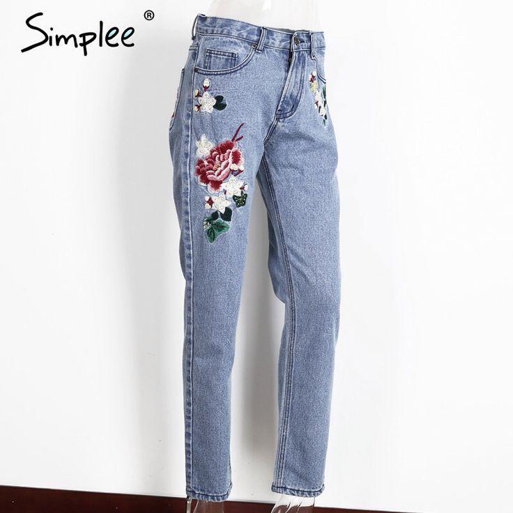 Simplee Bloemen borduren jeans vrouwelijke Winter rits rechte denim broek jeans vrouwen Mode pocket licht blauwe broek jeans