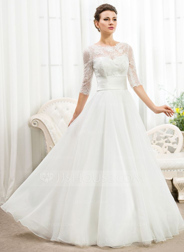 A-Line/Princess Scoop Neck Floor-Length Organza Satin Lace Wedding Dress With Ruffle Beading Sequins (002056467) - JJsHouse