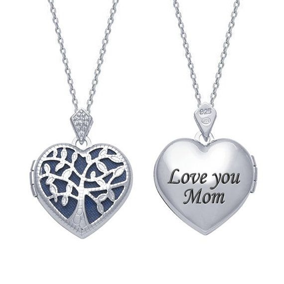 """Sterling Silver Filigree """"Tree of Life"""" Heart Locket with CZ Stone - Engrave Your Personal Message On the Back"""
