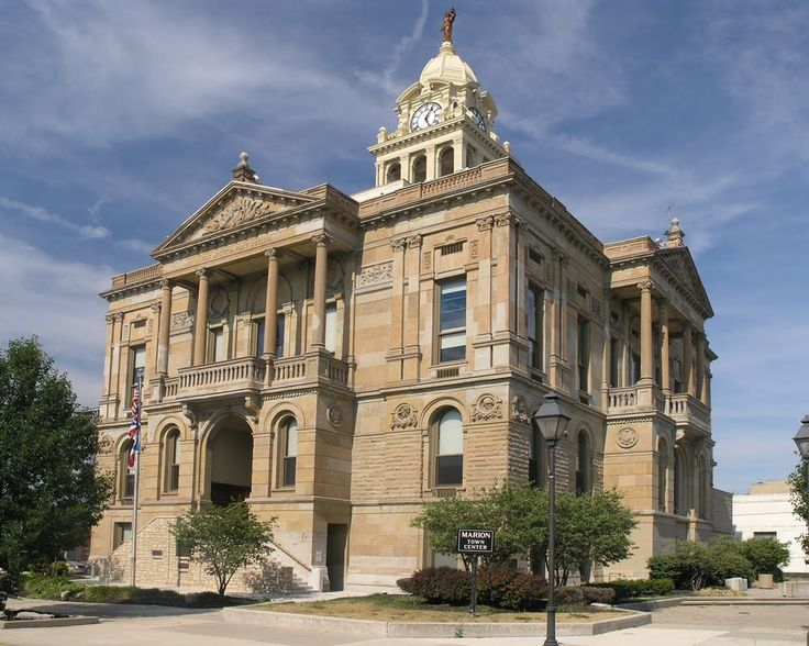 The Marion County Courthouse is the seat of government for Marion County, Ohio, United States. Located at the heart of the city of Marion, it is a sister of the courthouses that stand in Washington Court House in Fayette County, Ohio, and Charlotte, Eaton County, Michigan. Built 1884-1886. 1900 population: 11,863